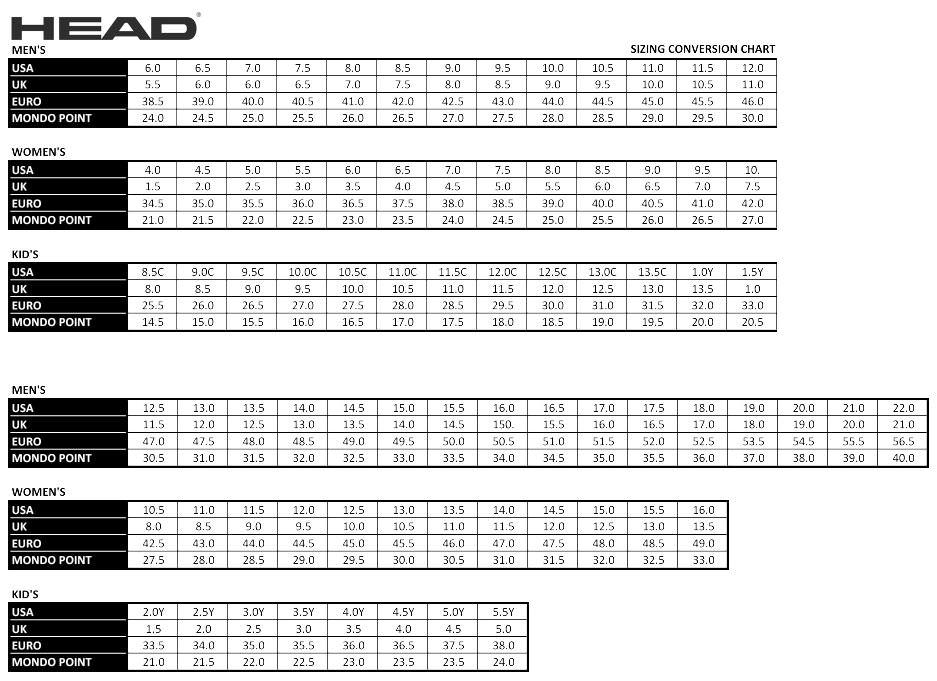 Таблица размеров горнолыжных ботинок Head