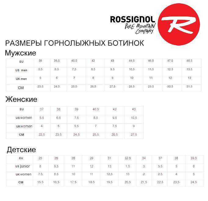 Таблица размеров горнолыжных ботинок Rossignol