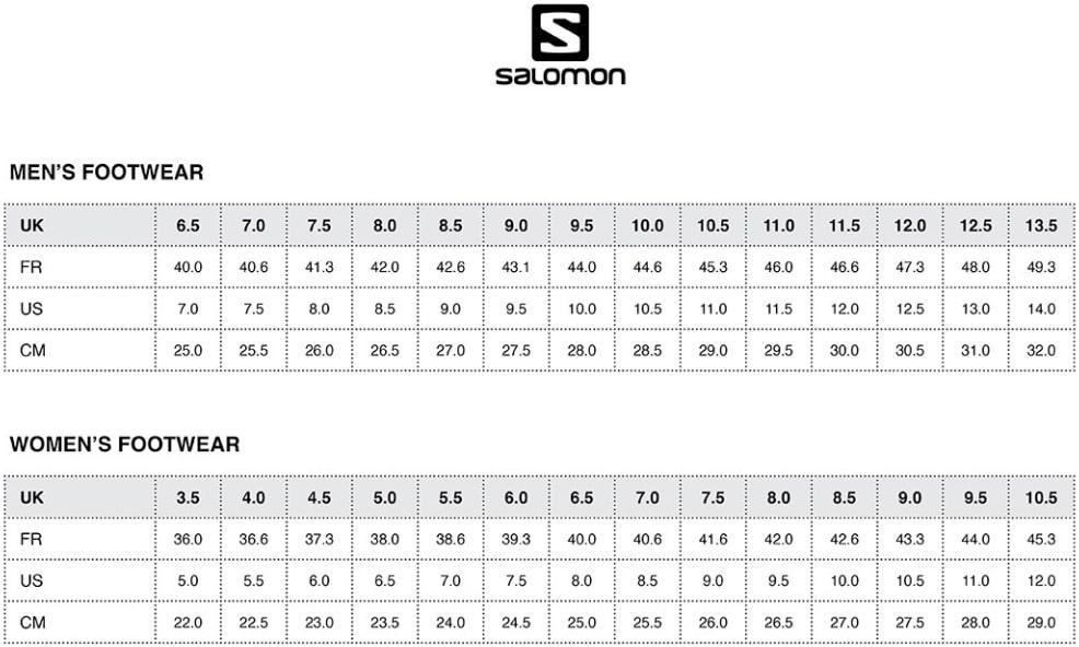 Таблица размеров горнолыжных ботинок Salomon