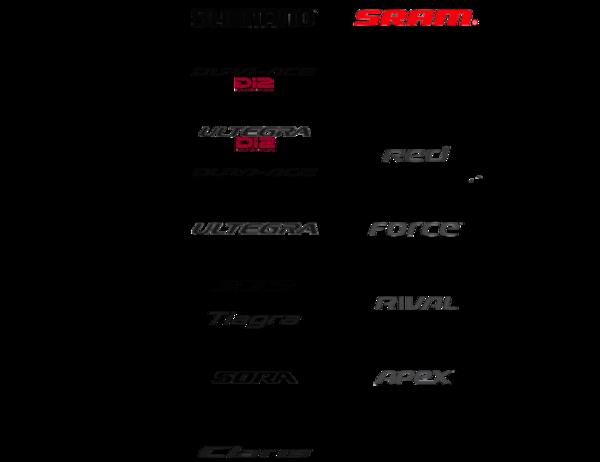Уровни велосипедного оборудования шоссейных велосипедов Shimano и Sram