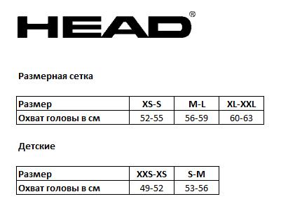Таблица соответствия размеров шлемов Head