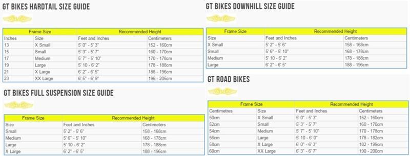 Таблица размеров рам велосипедов GT
