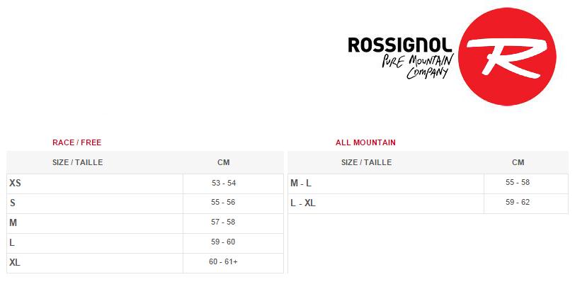 Таблица соответствия размеров шлемов Rossignol